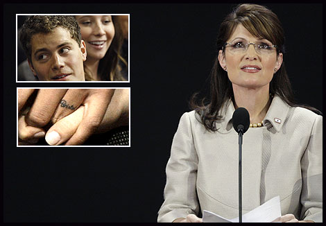 Alaska Gov. Sarah Palin; inset: Levi Johsnton and Bristol Palin; the tattooed engagement band